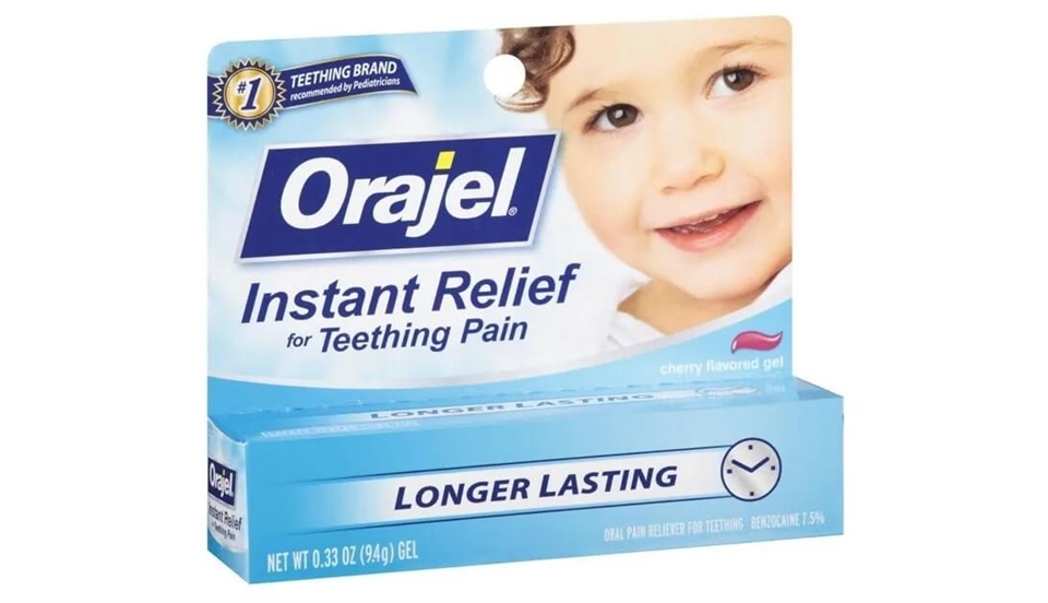 Orajel relieves baby teething symptoms