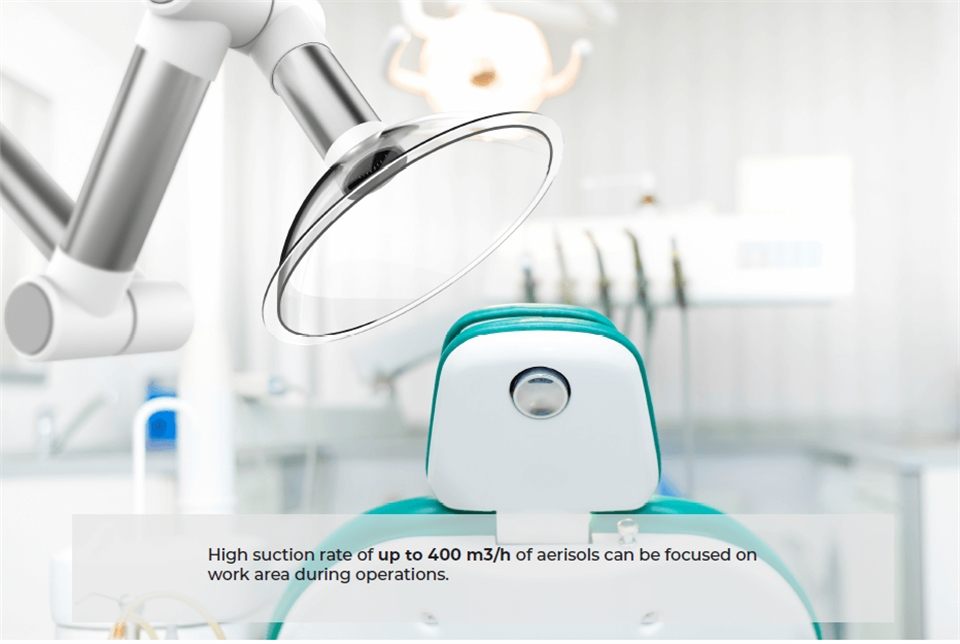 Dental air purifier removes the aerosols, bacteria and viruses from the air within the dental surgery